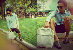 Ervin Tamondong - Julius Hat, Ray Ban Shades, Mint Longsleeve, Vans Bag, George Short, Topman Balck Shoes - IN HAPPINESS ^_^