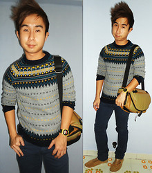 Aaron Tan - Topman Knitted Sweater, Levi's® Navy Skinnies, Head Porter Tan Camera Bag, Casio Yellow Watch, Everlast Tan Sneakers - Knitted Sweater Comeback