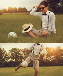 Yannick K. - Topman Black Bow Tie, Selfedited, Diesel Plain White Shirt, Topman Black Suspenders, H&M Shorts - She can kiss me, so I can finally be, so I can finally see