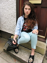 Codie louise C - Chocker Shoes Leopard Print Creepers, H&M Mint Green Capri Trousers, Primark Rolling Stones Vest, Primark Denim Shirt, Alexander Wang Rocco Studded Tote, Barry M Black Glitter Nails - EXPECTING
