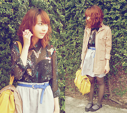 Bestie K - Mary Janes, Galaxy Shirt, Mango Skirt, Parisian Satchel, Ring, Collar Necklace, Parka - This was how it was meant to fall