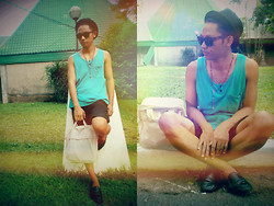 Ervin Tamondong - Julius Hat, Ray Ban Shades, Mint Sando, George Shorts, Vans Bag, Topman Black Shoes - SUMMER TIME IN THE LBC :D