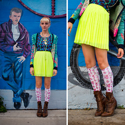 COURTNEY B - Free People Headband, Betsey Johnson Cardigan, Bdg Abstract Print Shirt, Urban Outfitters Fluorescent Yellow Skirt, Urban Outfitters Floral Knee Highs, Vintage Boots, Vintage Ankh, Locket, Rosary - James Dean approves