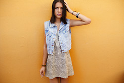 Stephy C. - Gap Denim Vest, Me :) Leopard Dress - Angry leopard