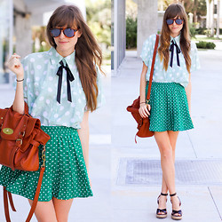 Steffy Degreff - Tea And Tulips Green Grass White Clouds Skirt, Tea And Tulips Minty Dots Blouse - DOTS + DOTS ❤
