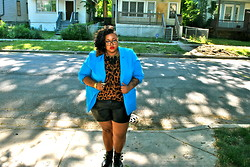 Tiffany Tucker - Thrifted Blazer, Evans Leopard Top, Torrid Leather Shorts, Topshop Tassel Necklace - It's All Saturated Like Instagram