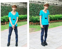 Lanz Paolo - Topman Fedora Hat, Topman Teal Shirt, Bench Blue Pants, Trunkshow Reggie Creepers, Topman Camera Necklace - Plain with Colors