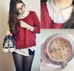 Cecilia Pettersson - H&M Knit, Cubus Shirt, Converse, Jetset Addiction Watch, åhlens Striped Tights - Shades of pink