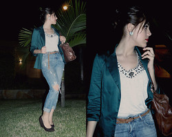F Esther - Green Boyfriend Blazer, Studded Top, Riped Pants, Beira Rio Brown Wedges, Luz Da Lua Brown Bag - KEEP ME IN MIND