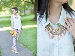 Melanie Y - H&M Mint Blouse, Asos Floral Print Pants, Bandolinos Yellow Sandals, Rebecca Minkoff Yellow Crossbody Bag, H&M Leaf & Spike Necklace, Forever 21 Aviators - Mint & Floral Prints