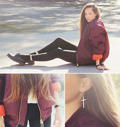 Karin Bylund - <3 Bomber Jacket, Topshop Tights, Dr. Martens Shoes - I ONCE HEARD THESE WORDS IN A SONG.
