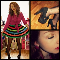 Aisling Cox - H&M Rainbow Pleated Skirt, Dorethy Perkins Bow,Suede High Heels., Miss Selfridge Earings, Primark Polka Dot Tights, Primark Pink Blouse - Full of colour.