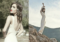 Marianna Vazquez - Long White Dress, Classic Pin, Pearl Necklace - The classic white dress