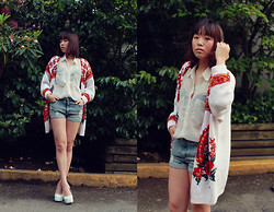 Shane Wu - Vintage Sweater, American Apparel Chiffon Blouse, Forever 21 Denim Shorts, S E N O Heels - Blows Me Away