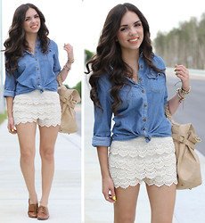 Daniela Ramirez - Oasap Crochet Shorts, Forever 21 Denim Top, Mimi Boutique Nude Bag, Nine West Oxford Shoes - Crochet and denim!