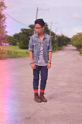 CP Garcia - Levi's® Denim Jacket, Foldedandhung Tank Top, Bench Chinos, Dr. Martens Boots - West Side