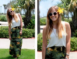 Bryn Newman (Stone Fox Style) - Forever 21 White Sunnies, W118 By Walter Baker Asymmetrical Top, Leather Rock Chunky Vintage Belt, Goodwill Tropical Print Skirt - Tropical Revival