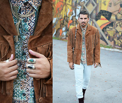 Emmanuel Sanchez - Goodwill Thrifted Fringe Jacket, Dr. Martens Red Velvet Boots, Topman Collar Chain - Miami Art District.