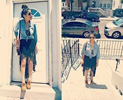 Nayeli J - Local Store Lace Skirt, Denim Shirt, Sunnies, Croped Top - Psychotic Girl.