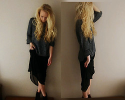 Holly Tomkins - H&M Sparkly Knitwear, Ebay Chiffon/Sheer Maxi Dress (Worn As A Skirt), Stolen From My Not Usually Fashion Forward Mum! Velvet Ankle Boots - Favourite jumper