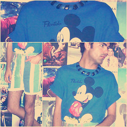 Ro Covarrubias - Vintage Shop Mickey Shirt, Arizona Denim Shorts, Vintage Shop Plastic Collar - Cruel Summer... (BANANARAMA)