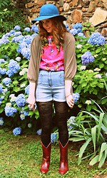 Erin Catherine - Forever 21 Felt Hat, La Citadela Market (Mexico City) Mexican Embroidered Blouse, Gap Cape Cardigan, H&M High Waist Denim Shorts, Black Lace Tights, Vintage Red Leather Cowgirl Boots - In an Octopus Garden in the Shade
