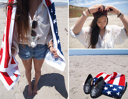 M. Satsuki - Forever 21 Stars And Stripes Towel, American Apparel Maroon Headband, American Apparel Sheer Chiffon Button Up, Levi's® Denim Cutoffs, Brandy Melville Usa Turquoise Skull Necklace, Aldo Studded Loafers - ~ba ba americano~