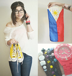 Cecilia Pettersson - Glitter Hairband, Cubus Top, Converse, Bench New York Wild Jeans - The Filipino Flag
