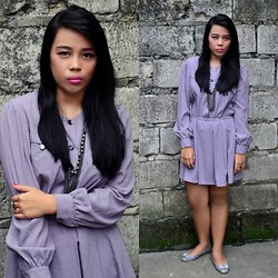 Alyanna Eugenio - Dress Up You Lavender Vintage Dress, Mocha Ring, Metal Chain Necklace, Gray Ribbon Flats - Vintage Breeze