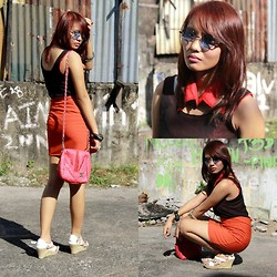 Janille Rose Olegario - Human Vintage Shades, Red Collar, Chanel Pink Bag, Tutuban Mall Orange Bandage Skirt, Tutuban Mall Sleeveless, Suredell Wedge - Red Collar.
