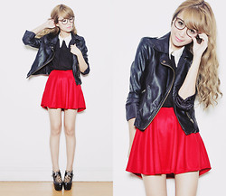 Tricia Gosingtian - Skirt, Top, Jacket, Shoes, Glasses - 061612