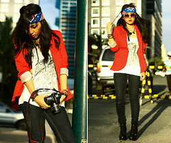 Andie Javelosa - Jt Lita Boots, Seed Red Blazer, American Flag Bandana, Graphic Owl Shirt - Red Hot Wonder