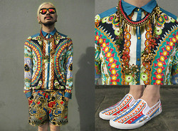 Andre Judd - Zara Printed Shirt With Denim Combi, Topman Ethnic Print Slip Ons, River Island Baroque Print Shorts, Avatar Floral Neckpiece With Gold And Pearl, Gold Spike Necklace - METAMORPHOSIS