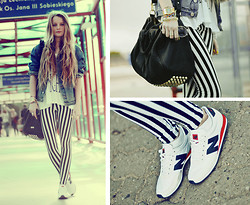 PATINESS - New Balance - Striped pants and new balance