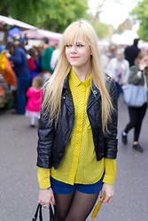 Ingrid O - Monki Yellow Shirt, American Apparel Blue Shorts, Primark Fake Leather Jacket - Yellow