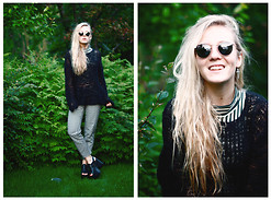 Hanna B - American Apparel Turtleneck, H&M Trousers, Ray Ban Glasses - Senegal fast food