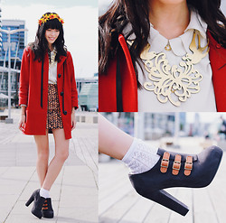Connie Cao - River Island Coat, Gorman Skirt, Vintage Blouse, Kani Headband - New quay promenade