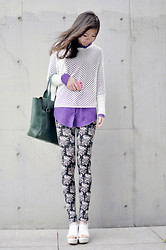 Nora Zhu - Topshop Legging, Staccato Wedges - Florals。。。。。