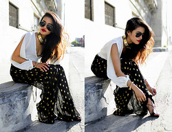 Olivia Lopez - Evil Twin Silk Palazzo Pants, Gucci Strap Up Heels, Sabo Skirt Gold Spiked Bracelet, Asos Gold Collar, Lovers & Friends Daydreamer Blouse - Palazzo Pants