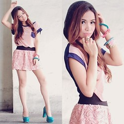 Marj Ramos - Zeros And Fives Top, Oasap Skirt, Privileged Shoes - Bubblegum Colors