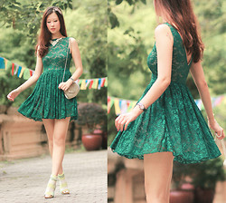 Mayo Wo - Vetb Retro Headband, Asian Icandy Emerald Lace Dress - Emerald lace
