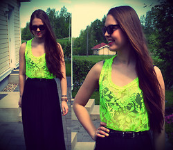 Essi S - Neon Lace Top, Black Maxi Skirt - Live for now forget forever