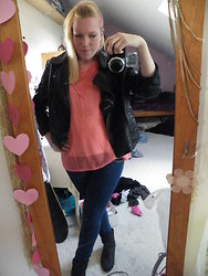 Beverley Bowen - Ebay Leather Jacket, Primark Jeans, St Tropez Top, Priceless Boots - Sheer Orange
