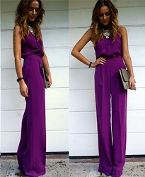Nicola Kirkbride - Warehouse Jumpsui, H&M Necklace, Capulet London Clutch Bag - Purple Jumpsuit