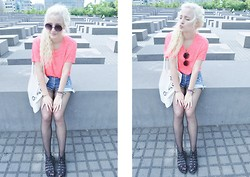 Charlie M. - Urban Outfitters Creepers, Urban Outfitters Denim High Waist Shorts, Gina Tricot Neon Coral Shirt, Urban Outfitters Sun Glasses - I follow you deep sea baby