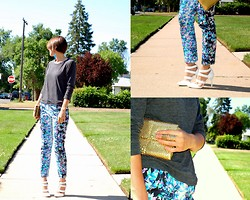Kate Schneider - Forever 21 Sweatshirt, Asos Floral Print Pants, Boutique 9 Painted White Heels, Vintage Gold Clutch - Fresh prints