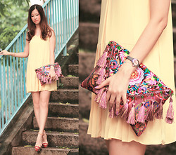 Mayo Wo - Laurustinus Yellow Pleated Dress, Asian Icandy Waterlily Tassel Crossbody, Carven Tribal Heels - Oriental embroidery