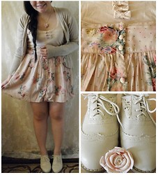 Lee.Sze ♥ - New Look Bow Top, Topshop Floral Skirt, White Crotchet Oxfords - (◠‿◠✿)