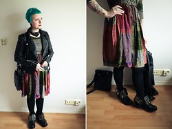 Emma Jopasnyt - Gina Tricot Faux Leather Jacket, Vintage Dress, 2lipstoo Ankle Boots - Bohohobo