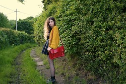 Monica Barleycorn - Ark Mustard Cardigan, Romwe Red Satchel, H&M Leather Skirt, Primark Spotty Tights - Mustard mix-up